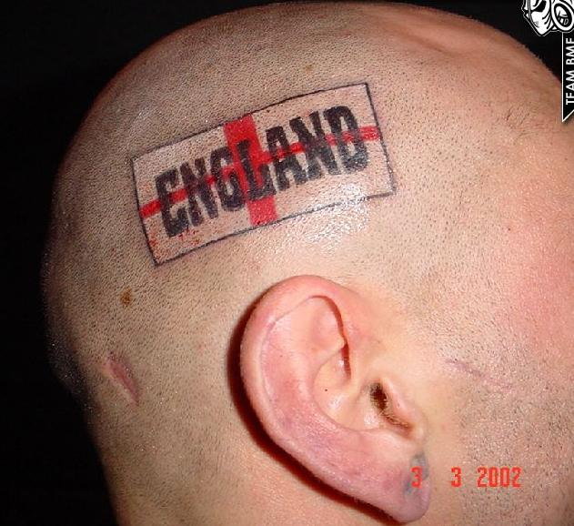 England Flag Tattoo On Head