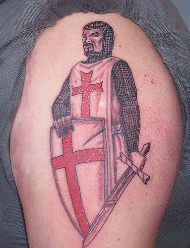 English Flag Tattoo On Shoulder