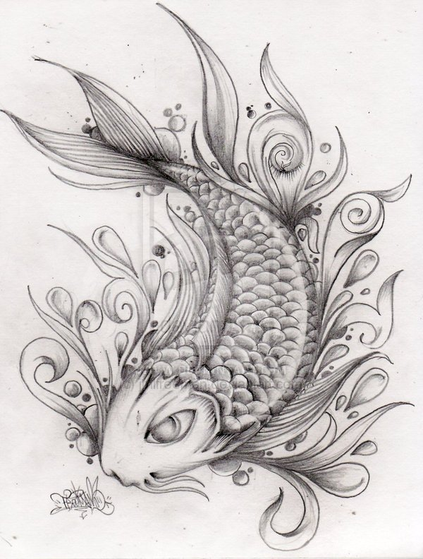 Fantastic Koi Fish Tattoo Drawing