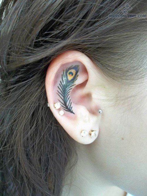 Feather Tattoo n Dual Lobe Piercing