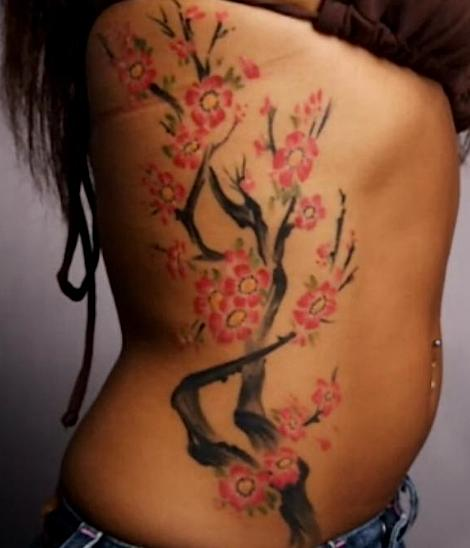 Feminine Cherry Blossom Tattoo On Ribs