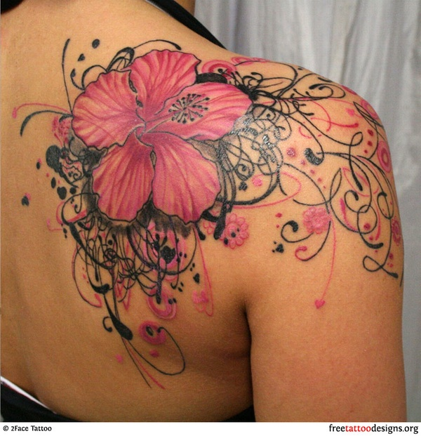 Http Www Tattoobite Com Feminine Pink Flower Tattoo On Back Of Shoulder