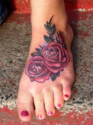 Rose Foot Tattoo Outline