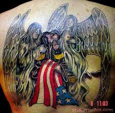 Fire Fighter Angel Tattoo Design