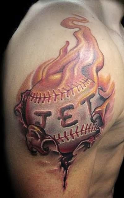 Fire n Flame Jet Tattoo On Right Shoulder