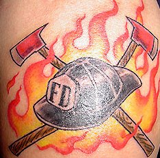 Firefighter Equipments With Cap Tattoo Design