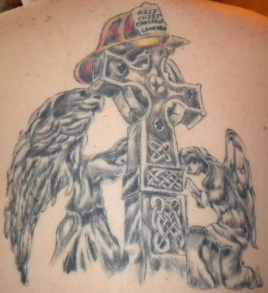 Firefighter Prayer n Cross Tattoo On Back