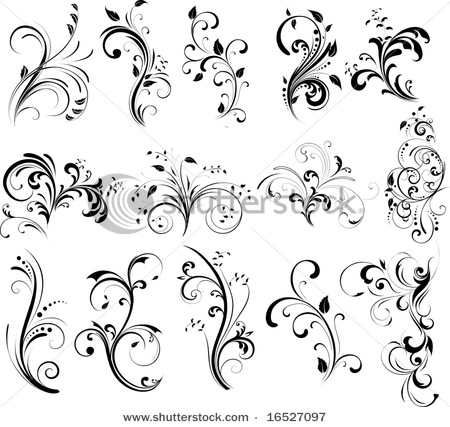 Floral Silhouette Element For Design Vector Tattoo Photo