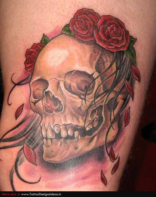 Floral Skull Tattoo Design