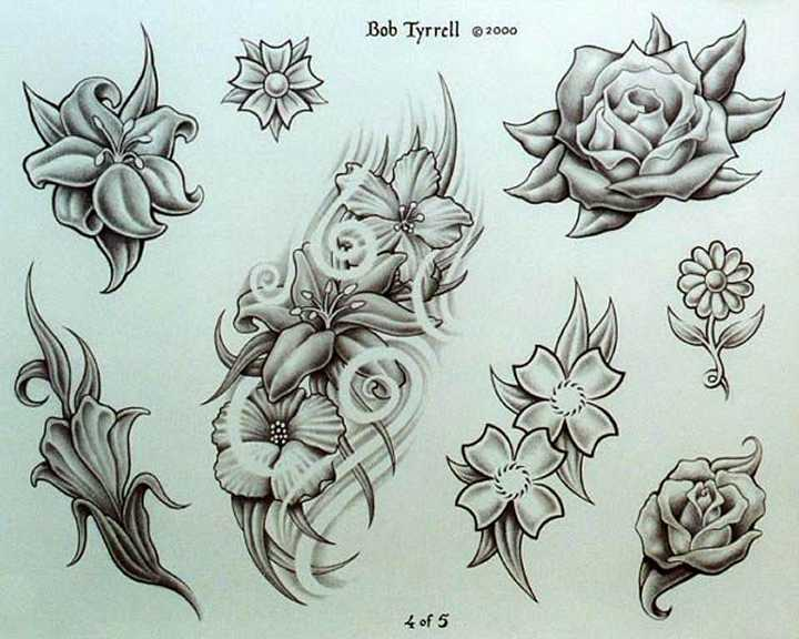 Floral Tattoo Designs On A Black Background