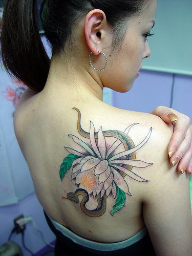Flower Tattoo On Right Back Shoulder For Female