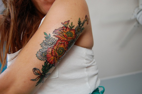 Flowers Tattoo For Girls On Back Arm
