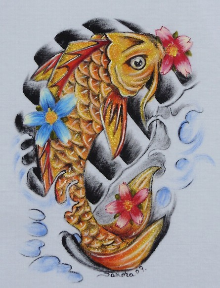 Flowers With Fish Tattoo Design