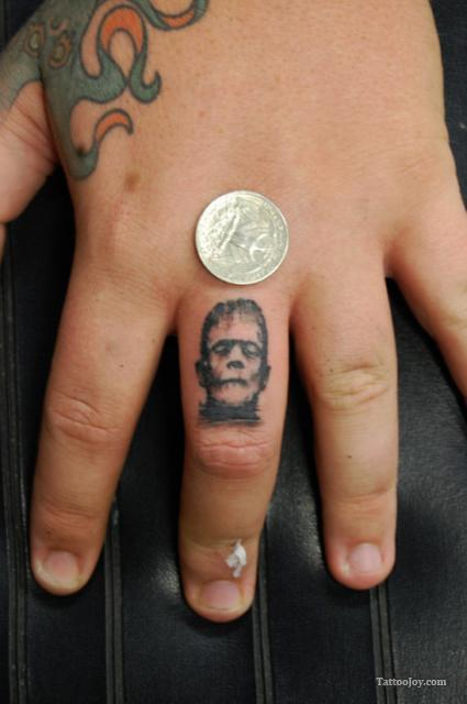 Frankenstein Finger Tattoo