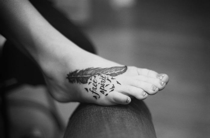 Free Spirit Feather Tattoo On Foot
