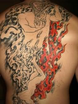 God Of Fire n Flame Tattoo On Back Body