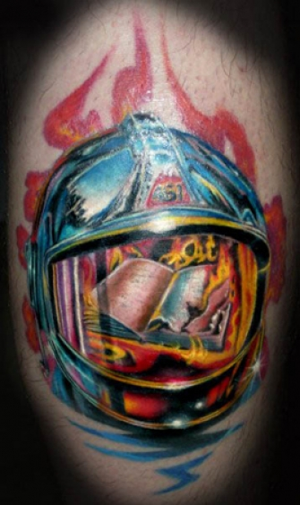 Impressive Firefighter Helmet Tattoo Design