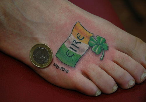 Irish Flag n Clover Tattoo On Foot For Men