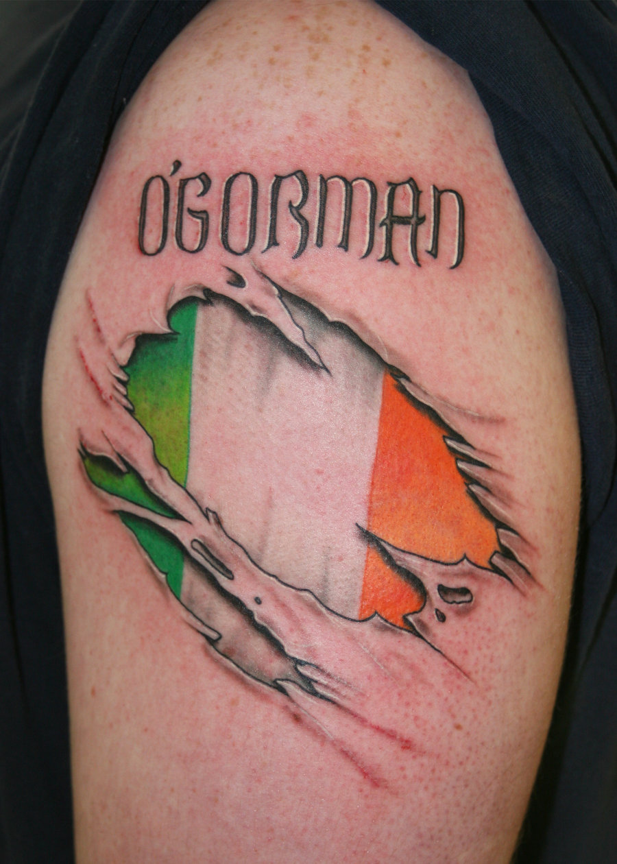 Irish Flag Ripping Skin Tattoo Design