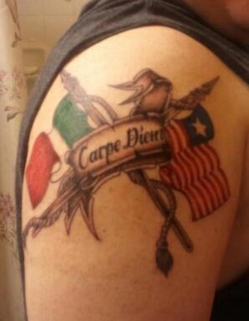 Italian American Flag Tattoo On Shoulder