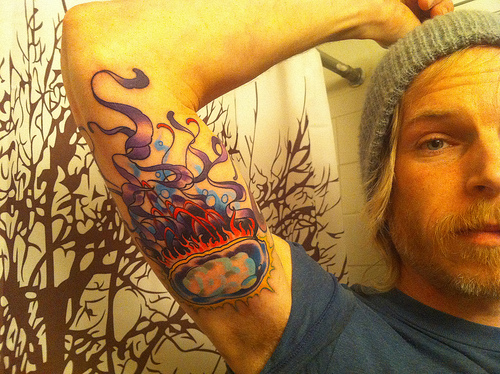 Jelly Fish Tattoo On Muscles