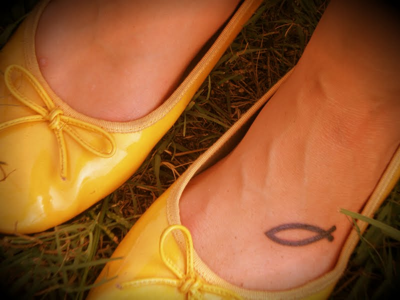 Jesus Fish Tattoo On Foot