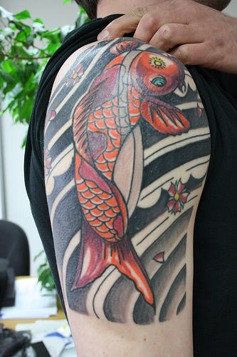 Koi Fish Tattoo For Men On Right Shoulder