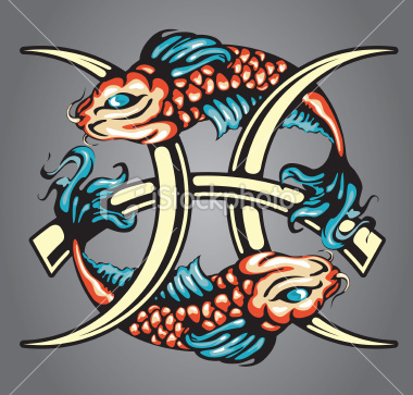 Koi Fishes Pisces Star Sign Tattoo Design