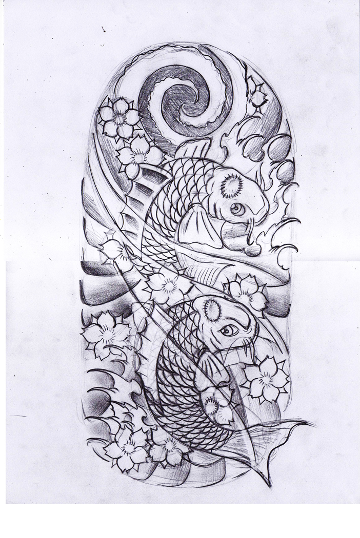 Koi Fishes Tattoo Drawing