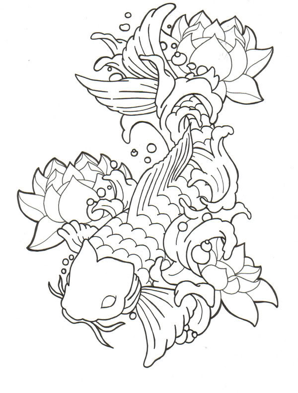 Gallery For gt Koi Fish Tattoo Outline Designs
