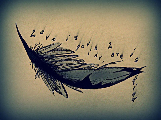 Love Quote n Feather Tattoo Design