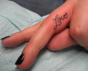 Love Text Tattoo On Finger