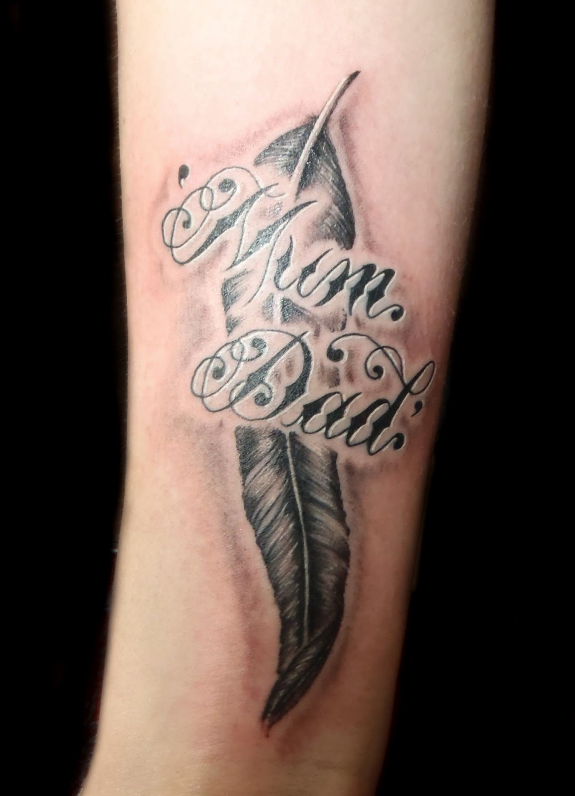 Mum Dad Feather Tattoo Design