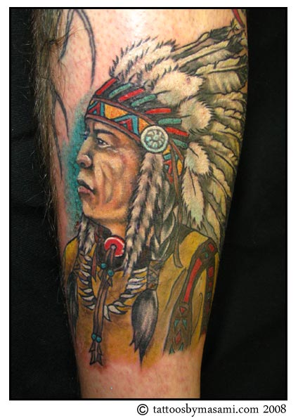 Native American Feather Man Tattoo