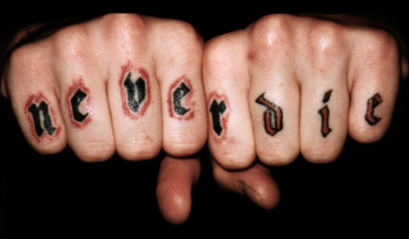 Never Die Tattoo On Fingers