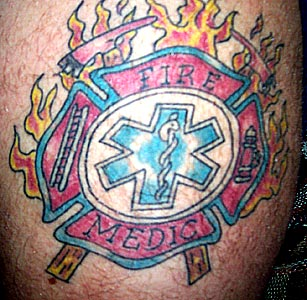 Nice Firefighter Maltese Cross Tattoo