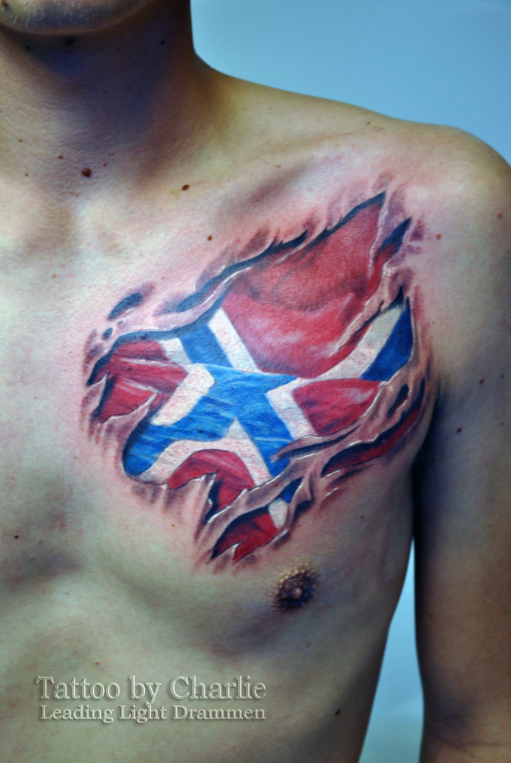American Flag Tattoo Inner Bicep Norsk flag tattoo on chest