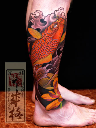 Orange Koi Fish Tattoo On Leg
