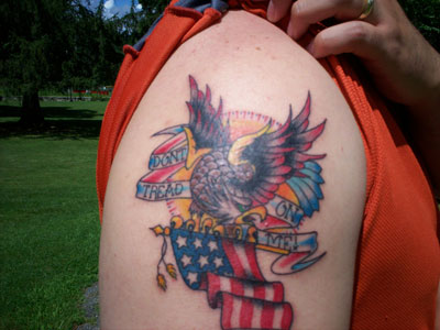 Patriotic Flag Tattoo On Shoulder For Guys
