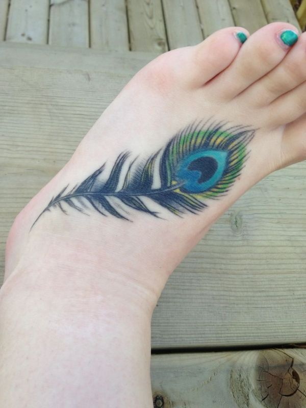 Peacock Feather Foot Tattoo