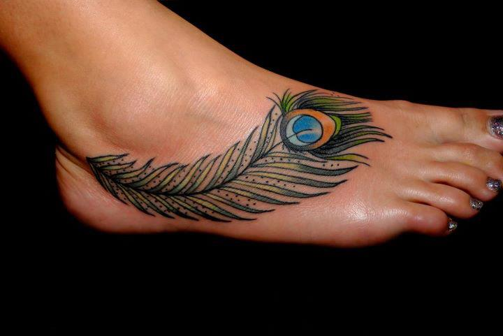 Peacock Feather Tattoo For Foot