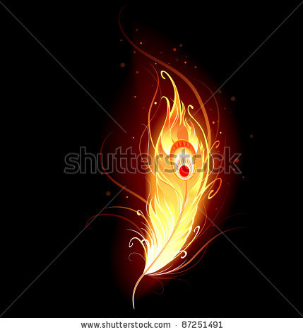Phoenix Feather On Fire Tattoo Design