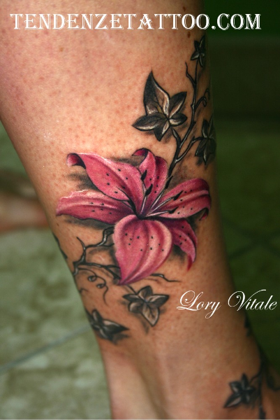 Pink Flower Tattoo Design