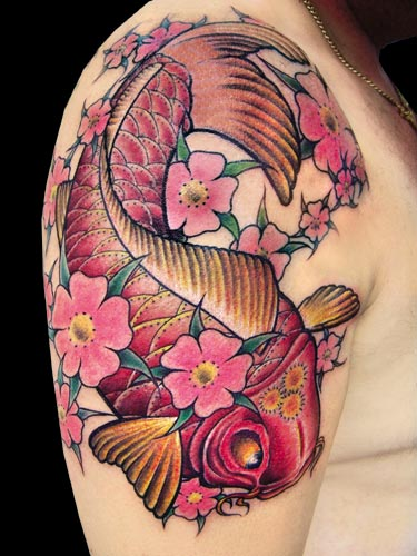 Pink Koi Fish With Flowers Tattoo On Shoulder
