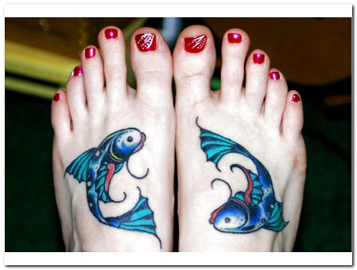 Pisces Fishes Tattoo Designs On Feet
