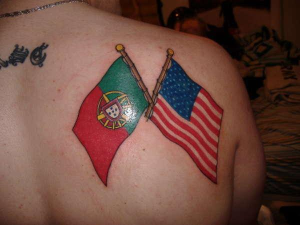 Portuguese American Flag Tattoo On Back Of Shoulder