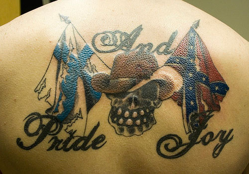 Pride n Joy Flags Tattoo Design On Upper Back