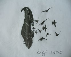 Raven Feather Tattoo Sketch
