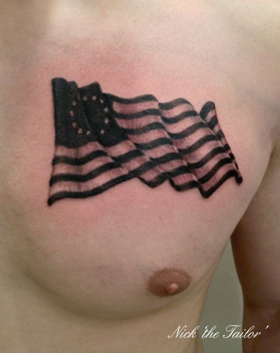 Realistic Black n Grey American Flag Tattoo On Chest