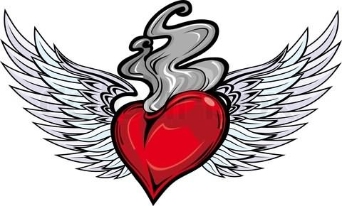 Red Heart Fire n Flame Tattoo Design